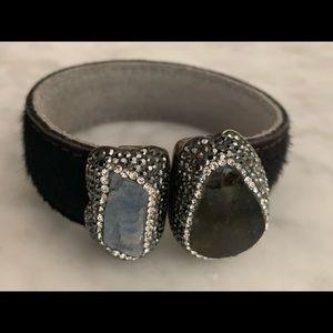 Jewelry - Black hide stones & crystals Cuff Bracelet!